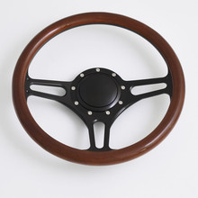 China 14 Inch Billet Black Steering Wheels Half Wrap Replacement Starfire 88 98 with horn button