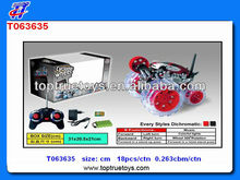 2013 Hot selling 7 ch cyclone wheel rc stunt car with charger,battery,rc tip lorry