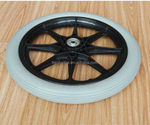 16x1.75 inch gray PU wheel with rib tread and black plastic rim for medical handcarts