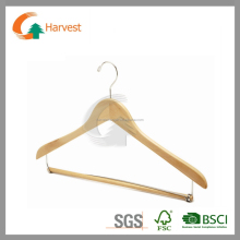 Classic suit hanger in natural color with round bar and notches