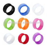 ear plugs wholesale double flared silicone plug flesh tunnel ear gauge expander body piercing jewelry