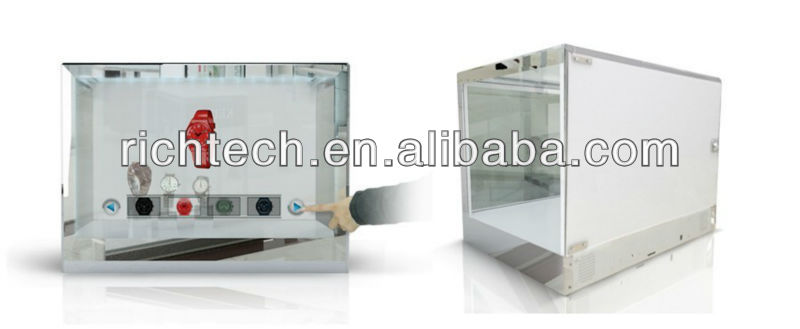 22'' transparent watch lcd display for exhibition/products presentation/showroom etc