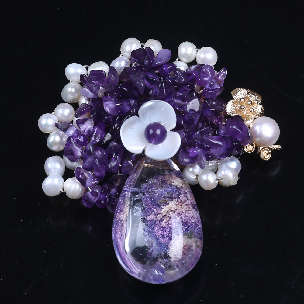 Real Natural Amethyst Stone Freshwater Pearl Elegant Brooches