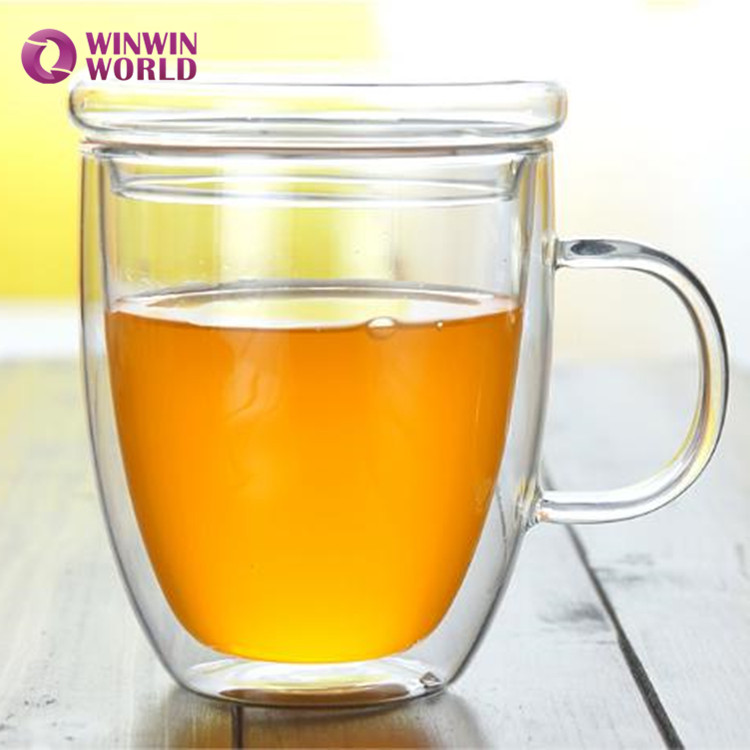 To Go Two Wall Borosilicate Glass Juice Mug With Cap