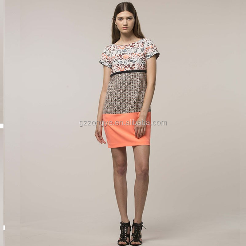 Short sleeve printed women China alibaba dresses