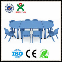 Water-proof and eco-friendly plastic used daycare furniture/half-round table kids/kindergarten desks and chairs QX-194E