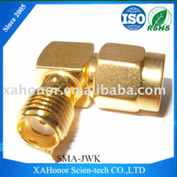 SMA male to female right angle Brass gold adapters plug to jack SMA-JWK
