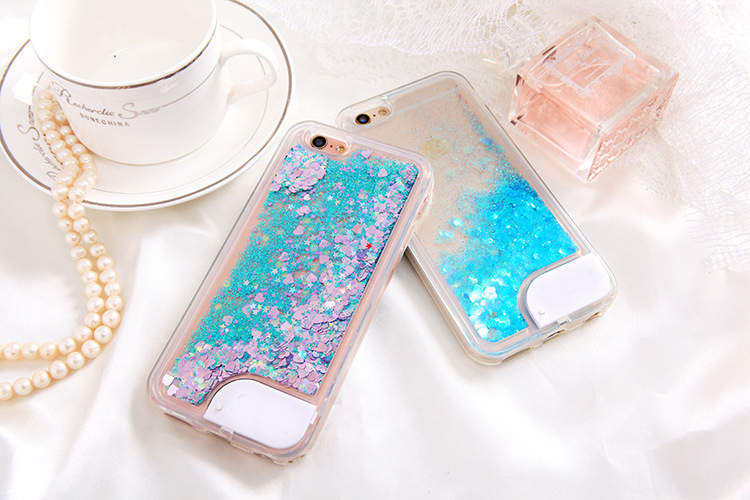 LED light Beautiful Quicksand stars Cell phone cover for Iphone Liquid flow case for Samsung