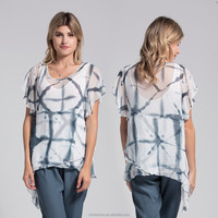 Latest fashion cutting blouse designs for middle aged women 2pcs set