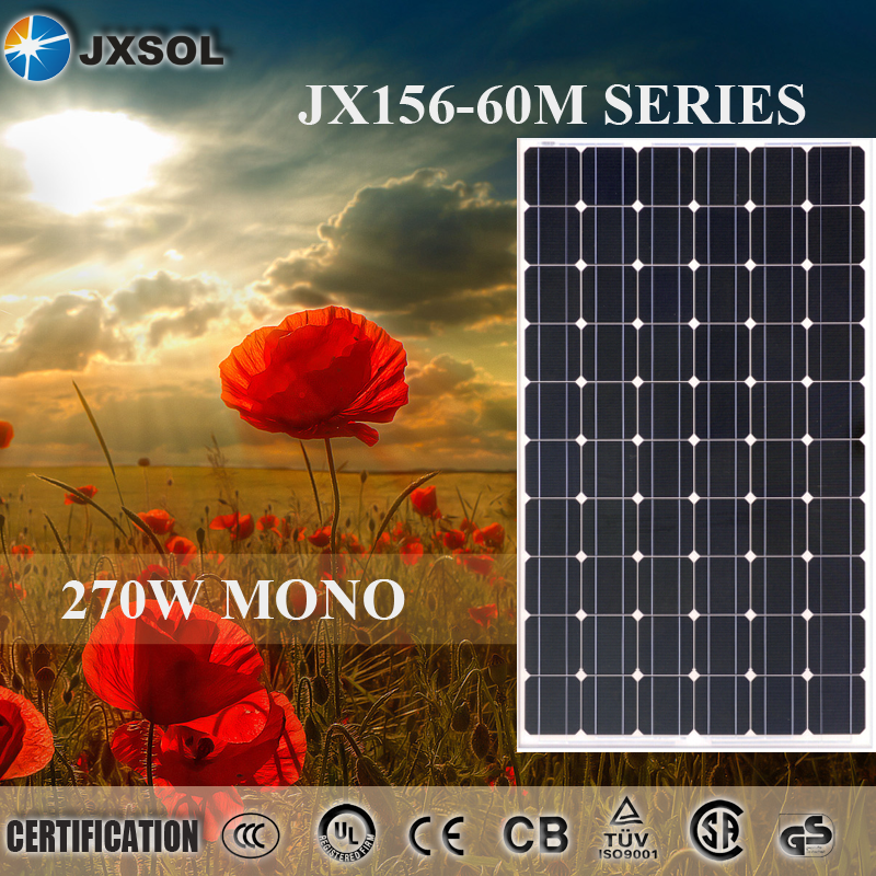 China hot sale 270watt grade A cells price per watt monocrystalline silicon solar panel