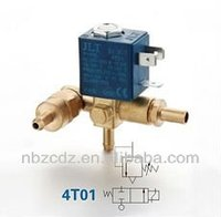 brass water/steam/air mangnetic electric solenoid valve 4 ways waterproof Sv(x)T AC/DC ins class F VDE UL approval 4T02