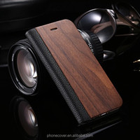 2017 China Supplier Hot Selling New Products Wood Wallet Flip Cover Leather Mobile Phone Case for iPhone 7