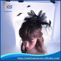 New Design 2015 Bridal Mesh Feather Fascinate Hat on Hair Clip and Brooth