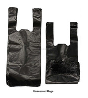 "Black Unscented Easy Open & Easy-tie Handle 15"" Strong Leak- Proof Poop Bags Dog Waste Bags"