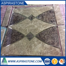 light and emperador marble tile floor medallions
