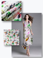customize textile material 100% polyester fabric digital printed satin crepe