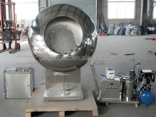 automatic film and sugar coating system China sugar coating machine for chocolate bean coating,  automatic spraying system coating machine for dragee chewing gum  film and sugar coating machine.