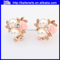 Wholesale jewelry cheap pink flower design pearl stud earrings