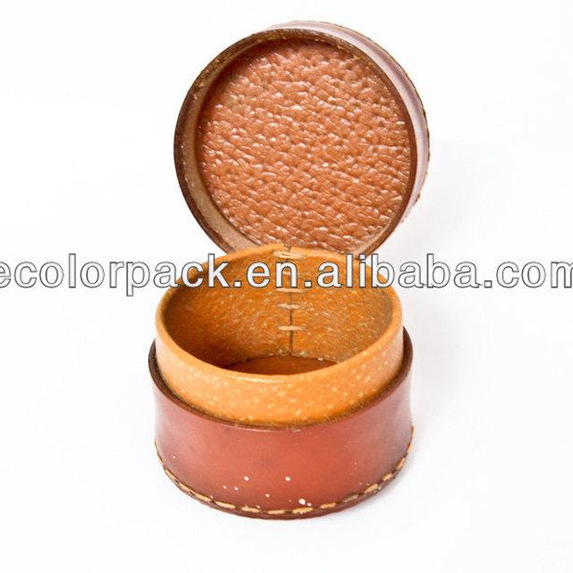 Round shape pu leather decorative bracelet box for men