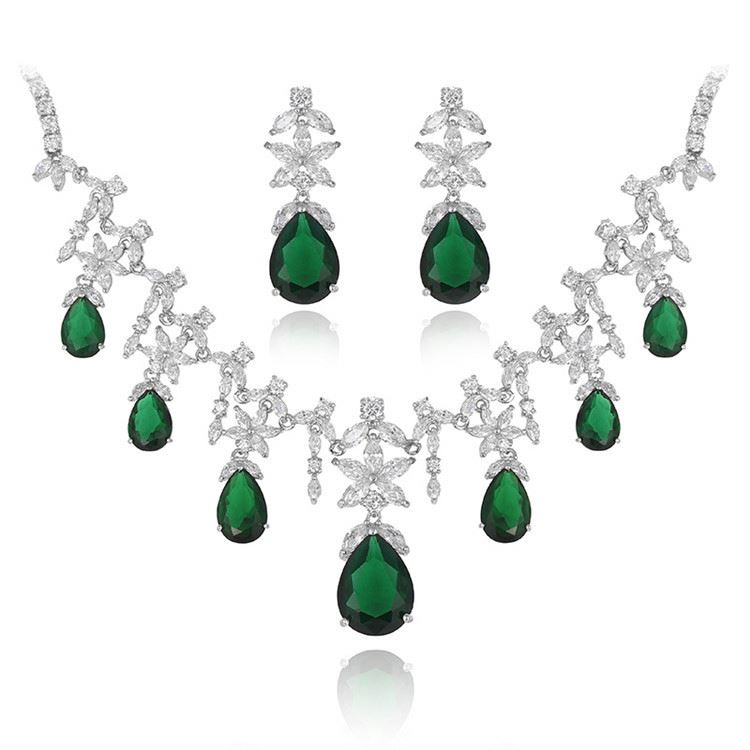 2017 Factory supply vintage green drop crystal everlasting necklace wedding long earring jewelry set