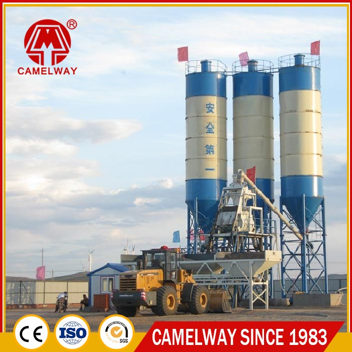 Fixed 75 m3/h Hopper Lift Feeding Model Cement Concrete Batching Plant