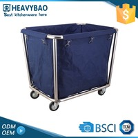 Heavybao Hotel Cleaning Laundry Plastic Linen Stainless Trolleys Cart For Washing Machine With Wheels