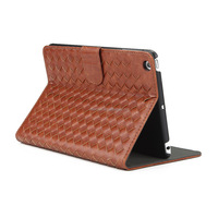 2014 Factory Offer Weave Design Leather Stand Case for iPad mini with Retina