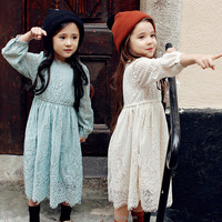 Hot sale best quality kids princess long dress sweet lace new model girl dresses