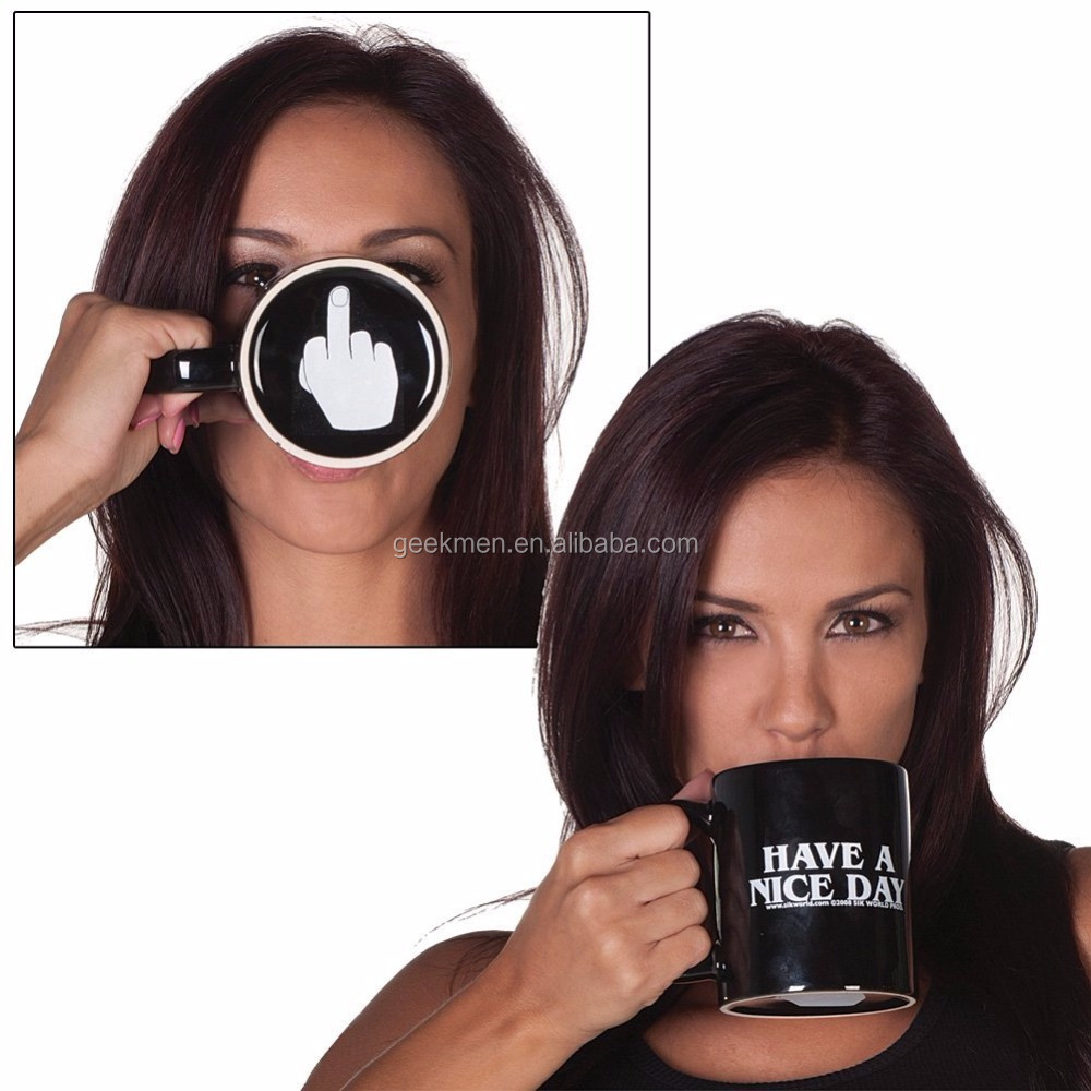 Middle Finger Coffee Cups Personality Office Gifts Have A Nice Day Ceramic Mug