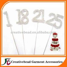 New Wedding Party Clear Rhinestone Diamante Number Cake Topper Decoration