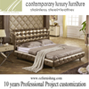 JR222 MOMODA luxury new modern gold bed crystal tufted contemporary Italian genuine crocodile leather bedroom furniture