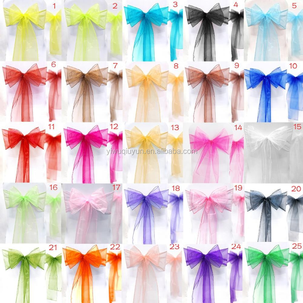 20*275cm In Stock Wedding Organza Chair Cover Sashes Sash Party Banquet Decoration Bow Colours