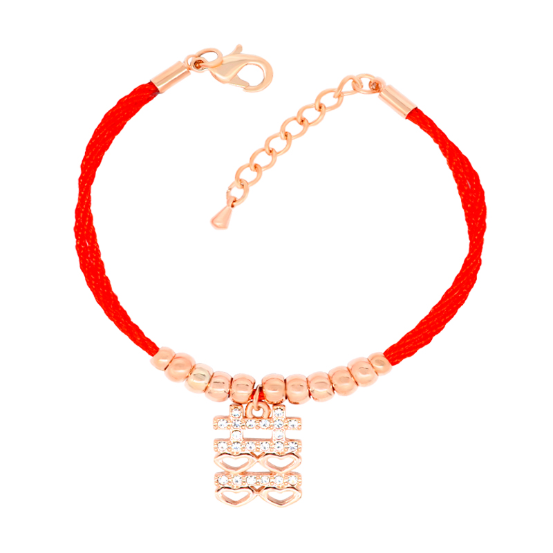 W204 Chinese Wedding Red Rope Bracelet Women 18K Gold Plated Jewelry Bracelet Wholesale 2017 New Designs Mother's Day Gift