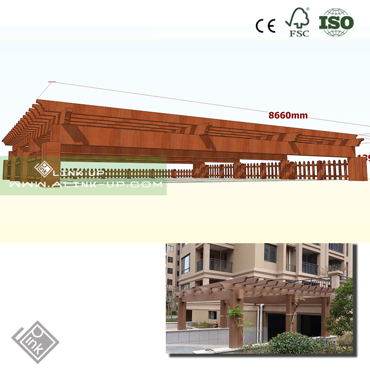 Outdoor Water-Proof Wood Plastic Composite WPC Carport pergola