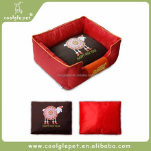 X'mas New Year Bright Canvas Fabric Rectangle Bed Dog Warm Houses Wholesale Pet Bed