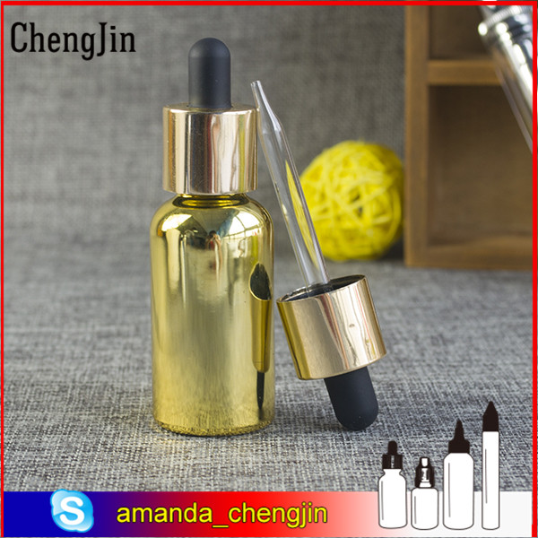 dropper sealing type 30ml golden glass bottle with gold&silver cap and bulb glass dropper