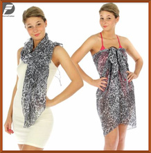 Unique Fashion Hot Sexy Women Leopard Print Ring Gray Design Summer Beach Style Multi Wear Dress Scarf Shawls