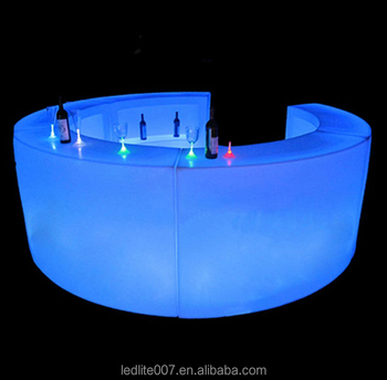 2016 new plastic illuminted color changing led bar table/led bar counter