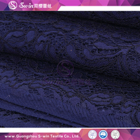 S-win Lace New Promotional Hot Sales 100Meter/Lot Dark Blue Tricot Style Rayon bridal lace fabric