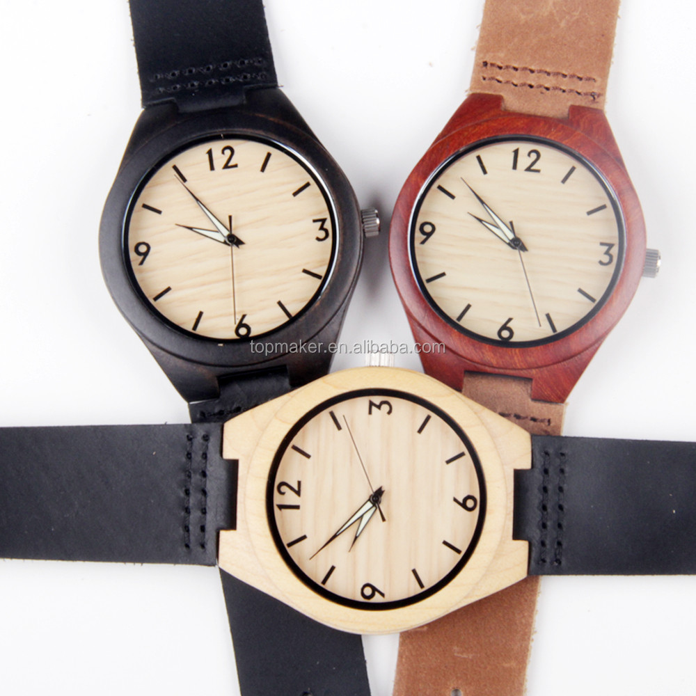 Cheap Wholesale Price Genuine Leather Strap Luminous Wooden Watches 2016