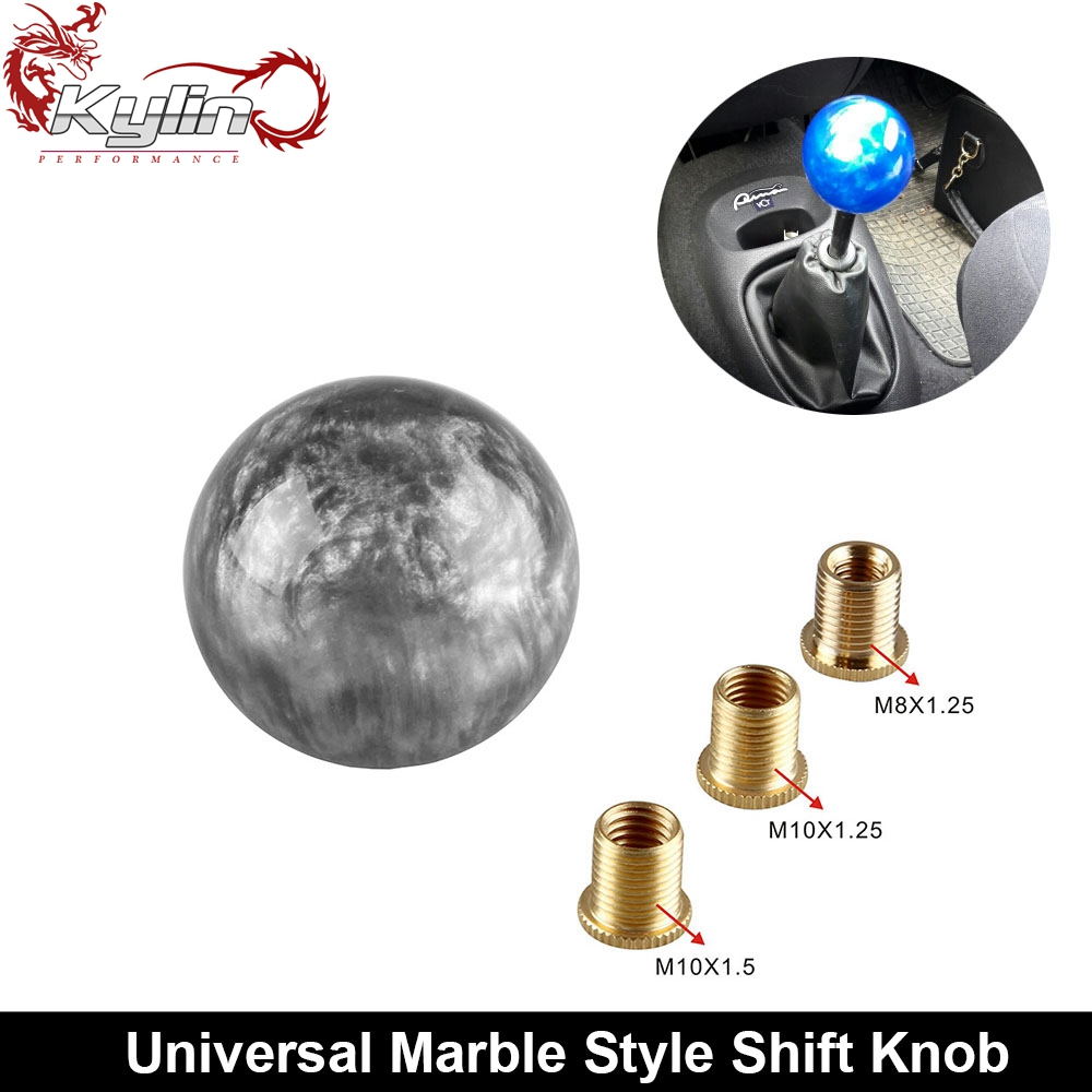 Ryanstar Racing Universal Round Marblel Car Gear Shift Knob With 3 Adapter