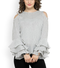 Apparel Summer Blusas Off Shoulder Stripe Chiffon Shirts Loose Blouse Women Plus Size Tops