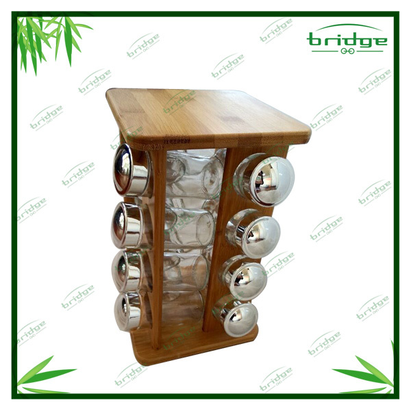 Bamboo 16-bottle spice rack shelf
