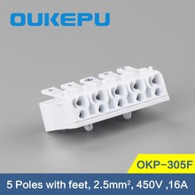 New design 5 poles Screwless Terminal Block, push wire connector
