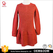 2018 autumn winter fashion round neck knitted kids Girls Sweater Dress