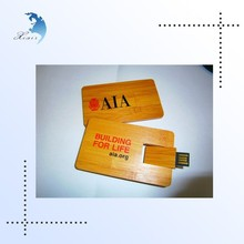 Best design gift promotional wooden USB card 2.0 Flash Drive