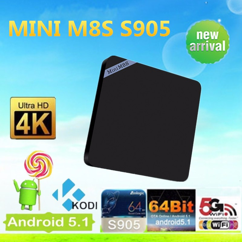 mini M8S Android Smart TV Box Amlogic S905 Bluetooth 4.0 Amlogic S905 Google Android 5.1 2G 8G H.265 HEVC