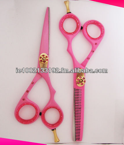 Pink Barber Hair Shears Set, Razor Edge, Sturdy Convex Blades, Size 6""