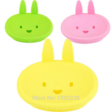 Cartoon smiling face little rabbit soap dish soap box pretty cute and practical