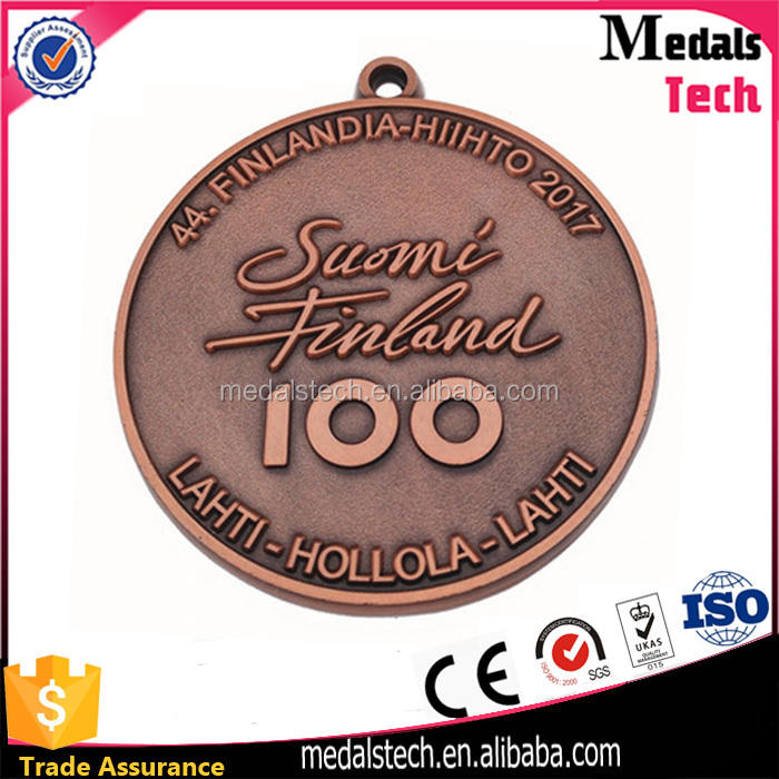 Custom make cheap copper sports award running trophies and medals china